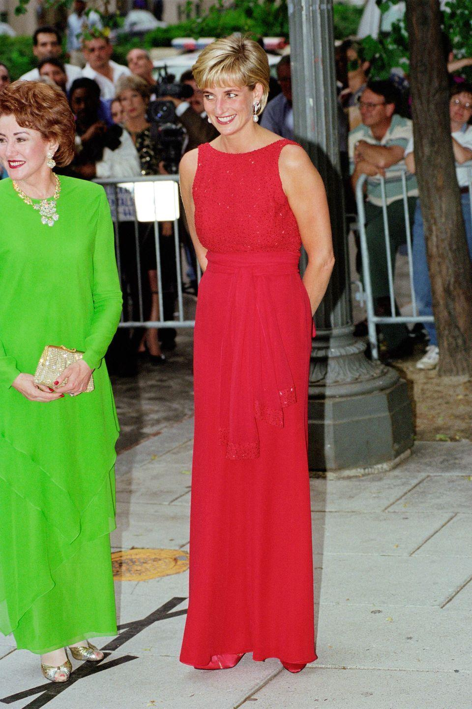 <p>In a red dress by Jacques Azagury at an event for the American Red Cross in Washington, D.C. </p>