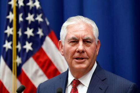 FILE PHOTO: U.S. Secretary of State Rex Tillerson speaks to staff members at the U.S. Mission to the U.N. in Geneva