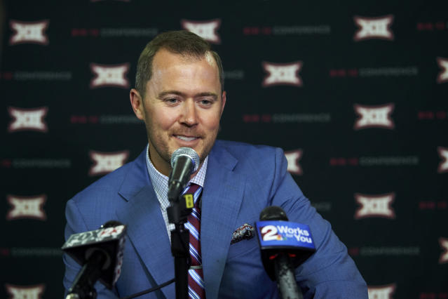 Oklahoma football head coach Lincoln Riley speaks during NCAA college football Big 12 media days in Frisco, Texas, Monday, July 16, 2018. (AP)