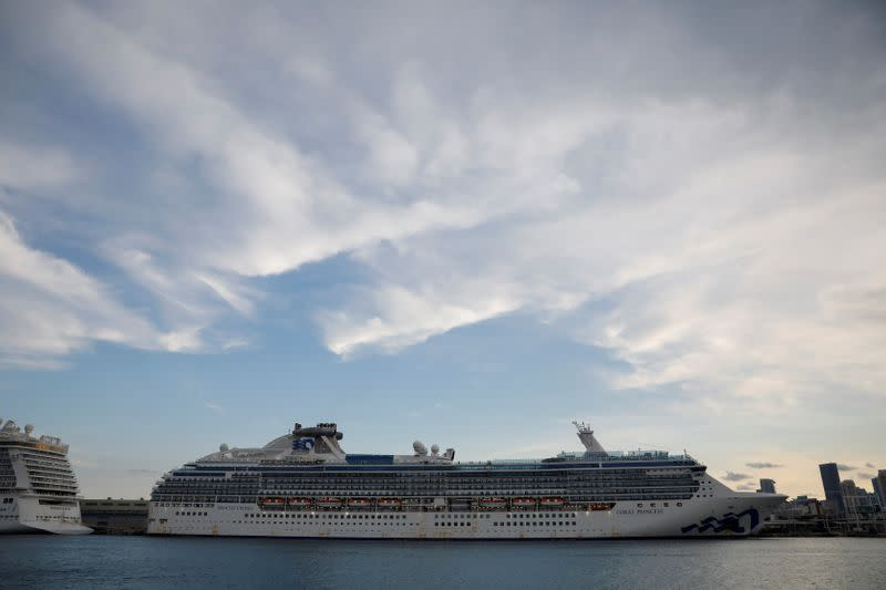FILE PHOTO: A view of the Coral Princess ship, of Princess Cruises fleet, with patients affected by coronavirus disease (COVID-19), as it docks at Miami Port, in Miami