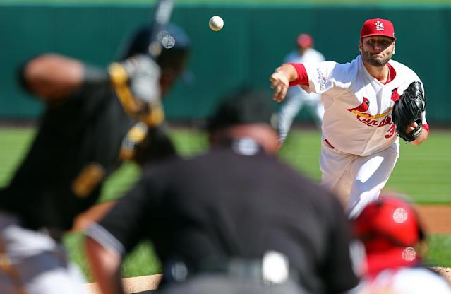 St. Louis Cardinals pitcher Lance Lynn pitches against Pittsburgh Pirates' Starling Marte in the first inning of Game 2 of baseball's National League division series on Thursday, Oct. 3, 2013, in St. Louis. (AP Photo/Elsa, Pool)