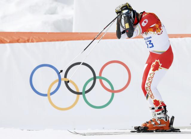 Canada's Philip Brown reacts after the first run of the men's alpine skiing giant slalom event in the Sochi 2014 Winter Olympics at the Rosa Khutor Alpine Center February 19, 2014. REUTERS/Mike Segar (RUSSIA - Tags: OLYMPICS SPORT SKIING)