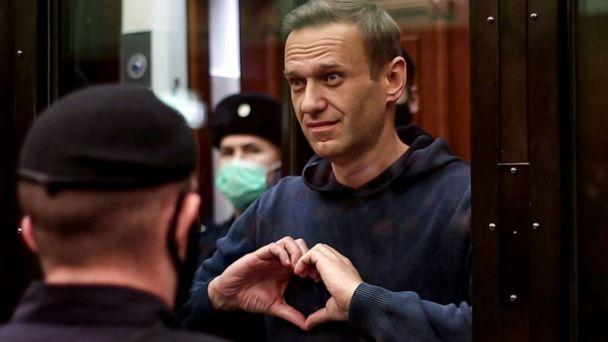 PHOTO: This screen grab from handout footage provided by the Moscow City Court press service shows Russian opposition leader Alexei Navalny, charged with violating the terms of a 2014 suspended sentence, during a hearing in Moscow on Feb. 2, 2021. (AFP PHOTO/Moscow City Court press service/Handout)