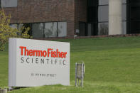FILE - This April 26, 2007, file photo, shows the exterior of Thermo Fisher Scientific Inc., in Waltham, Mass. The estate of Henrietta Lacks sued a pharmaceutical company on Monday, Oct. 4, 2021, that it says has been selling cells that doctors at Johns Hopkins took from the Black woman from Maryland in 1951 without her knowledge or consent. The federal lawsuit filed Monday in Baltimore says Thermo Fisher Scientific Inc., of Rockville, Maryland, knowingly mass produced and sold tissue that was taken from Lack. (AP Photo/Stephan Savoia, File)