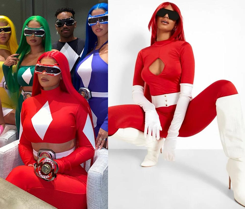 Side by side images of Kylie Jenner dressed as a red Power Ranger for Halloween 2020 and a model wearing Boohoo Halloween Cut Out Detail Catsuit. Photo: Instagram/kyliejenner, Boohoo.