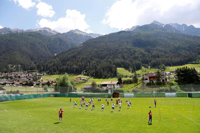 Soccer Football - FIFA World Cup - Russia Training - Neustift, Austria - May 21, 2018 General view during Russia training REUTERS/Leonhard Foeger