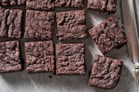 """<p>This one is a no brainer for you chocolate-lovers. These dark chocolate brownies are fudgy on the inside, crispy around the edges. If you'd like, you can whip in a bit of espresso powder for a little coffee flavor.</p><p><em><a href=""""https://www.delish.com/cooking/recipe-ideas/a32937034/vegan-brownies-recipe/"""" rel=""""nofollow noopener"""" target=""""_blank"""" data-ylk=""""slk:Get the recipe from Delish »"""" class=""""link rapid-noclick-resp"""">Get the recipe from Delish »</a></em></p>"""