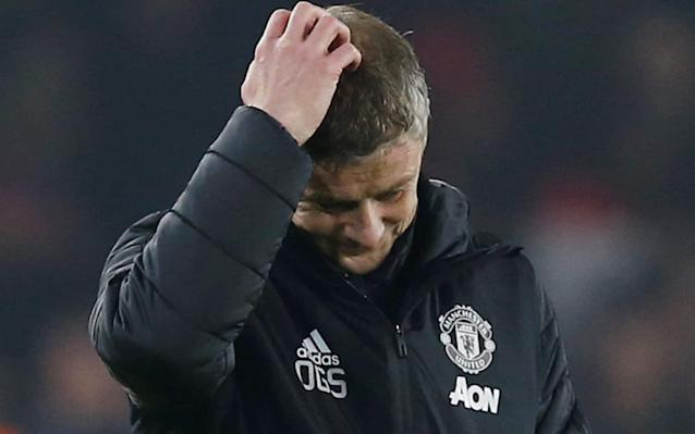 Manchester United manager Ole Gunnar Solskjaer reacts after the match - REUTERS