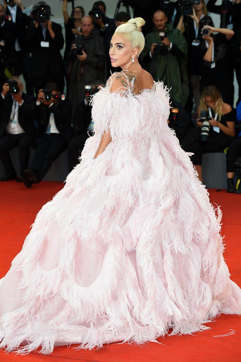 The singer wears the voluminous dress at the 75th Venice Film Festival on Aug. 31, 2018.
