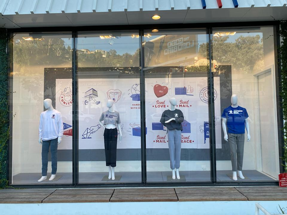 Fred Segal's window display currently features the USPS collection. (Photo: Fred Segal)
