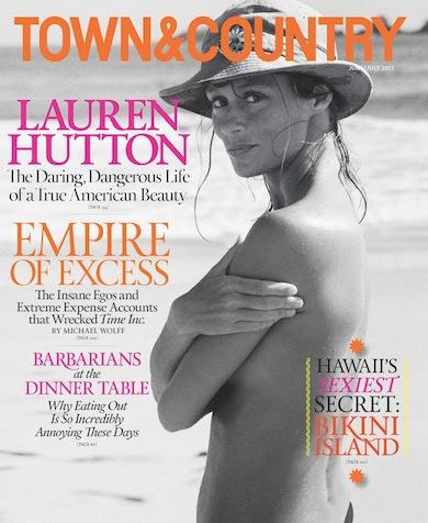 "<div class=""caption-credit""> Photo by: Town&Country</div><div class=""caption-title""></div><b>3. Lauren Hutton</b> Hutton's June 2013 Town & Country cover was a best seller this year with 44,343 copies sold. Instead of using a new photo of the 65-year-old model, the magazine chose a never-before-seen shot from 1968 of Hutton topless and wearing a sun hat. <br>"