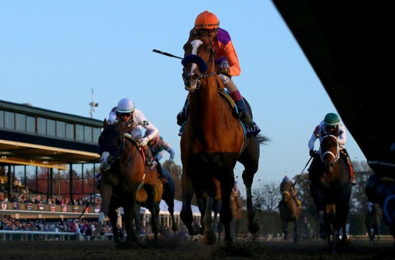 Authentic, with John Velazquez aboard, wins the Breeders' Cup Classic at Keeneland in Lexington, Kentucky
