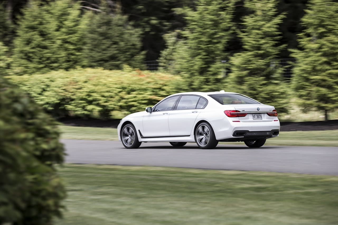 <p>The top end 750i can hit 60 mph in 4.3 seconds — huge for a car this size.</p>