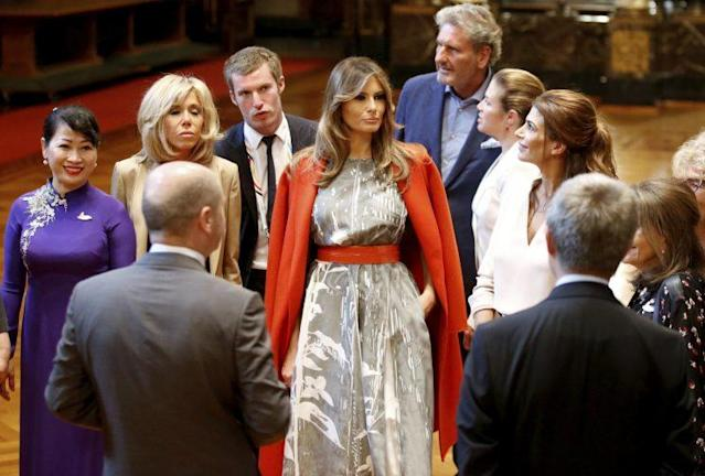 First lady Melania Trump attends a meeting of spouses at the G-20 summit meeting in Germany (Photo: AP)