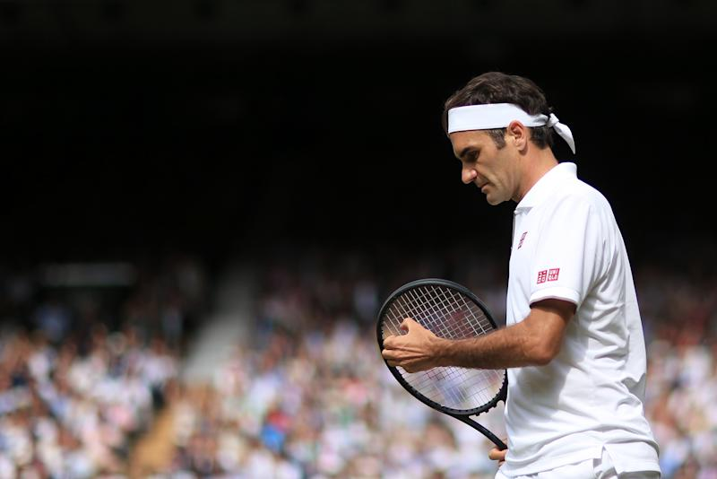 LONDON, ENGLAND - JULY 14: Roger Federer (SUI) looks dejected during his Gentlemen's Singles Final against Novak Djokovic (SRB) on Day 13 of The Championships - Wimbledon 2019 at the All England Lawn Tennis and Croquet Club on July 14, 2019 in London, England. (Photo by Simon Stacpoole/Offside/Getty Images)