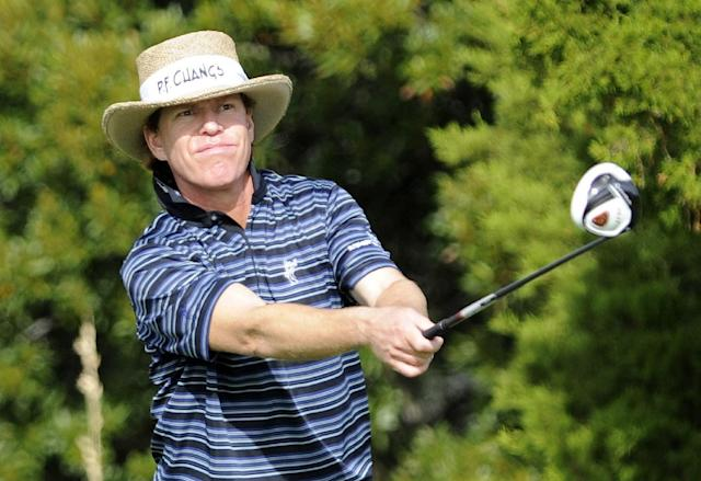 Briny Baird hits a drive off the seventh tee during the first round of the McGladrey Classic golf tournament on Thursday, Nov. 7, 2013, in St. Simons Island, Ga. (AP Photo/Stephen Morton)