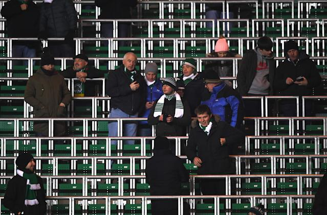 Supporters during the UEFA Champions League Group C match between Celtic FC and FC Barcelona at Celtic Park Stadium on November 23, 2016 in Glasgow, Scotland.
