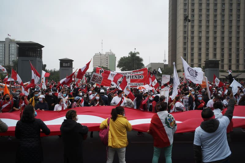 Supporters of Peru's presidential candidate Keiko Fujimori gather outside the Palace of Justice, the seat of Peru's Supreme Court, during a demonstration in Lima