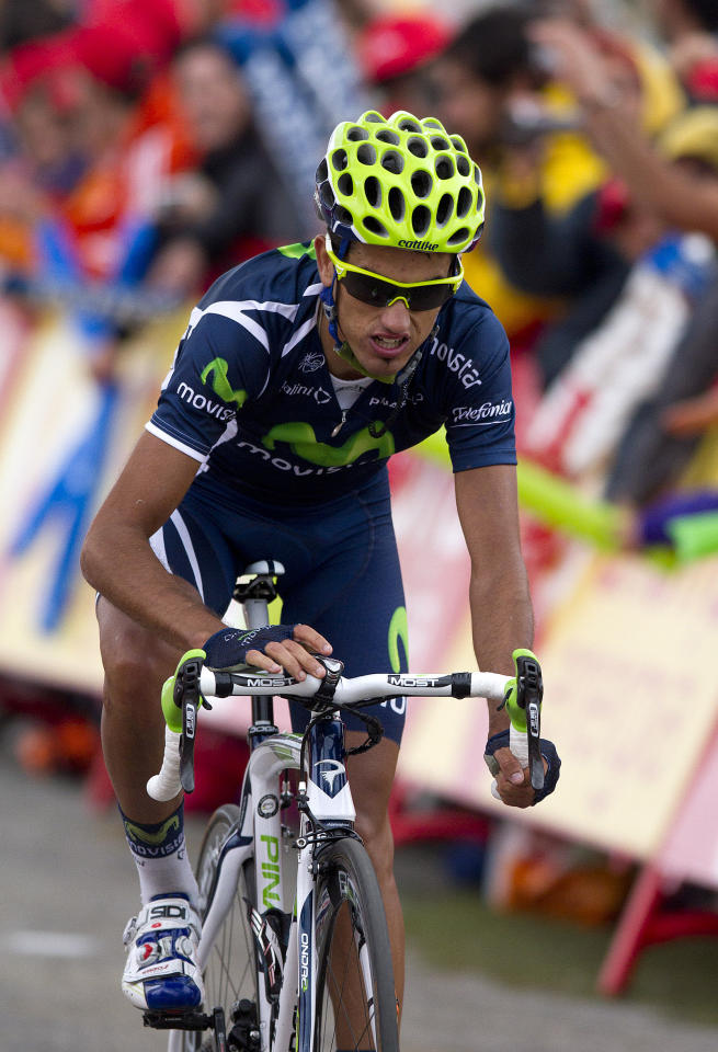 Benat Intxausti of Spain comes in second after the 167-kilometer leg on the 11th stage of the Spanish Vuelta cycling race that finished in the Manzaneda ski resort near A Pobra de Trives, Spain Wednesday Aug. 31, 2011. (AP Photo/Lalo R. Villar)