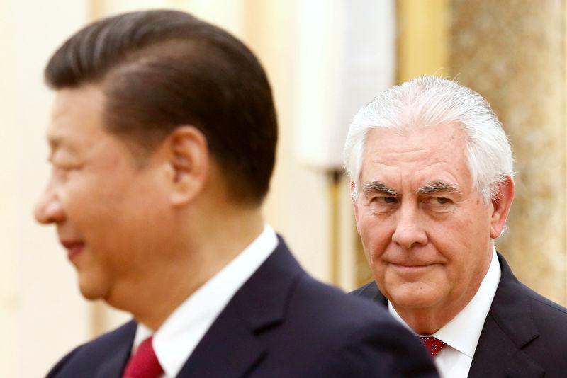 FILE PHOTO: China's President Xi Jinping meets U.S. State of Secretary, Rex Tillerson at the Great Hall of the People in Beijing