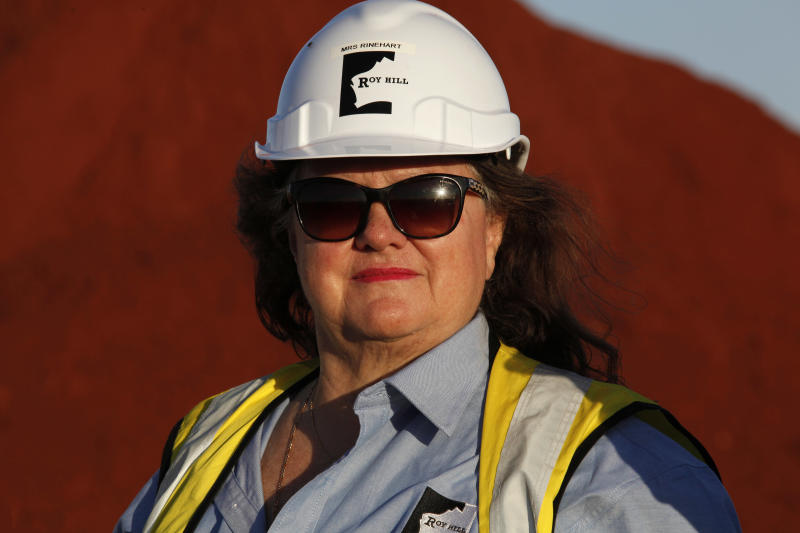 Gina Rinehart, Chairman of Hancock Prospecting Pty Ltd., during a tour of the company's Roy Hill Mine operations under construction in the Pilbara region, Western Australia, on Thursday, Nov. 20, 2014.