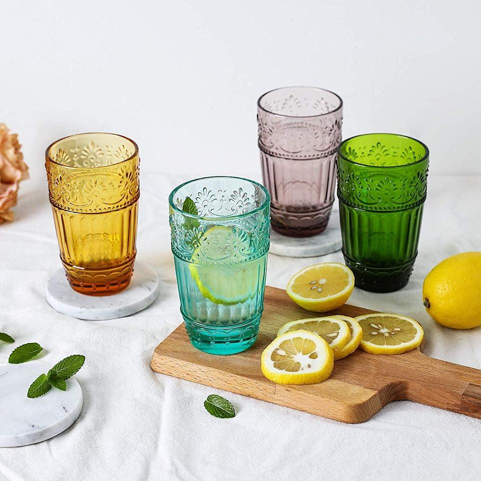 <p>These colorful <span>Colored Water Glasses</span> ($25 for four) will elevate any kitchen.</p>
