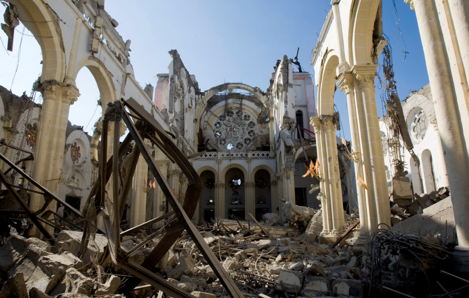 Remnants of the Cathedral of Our Lady of the Assumption after its collapse