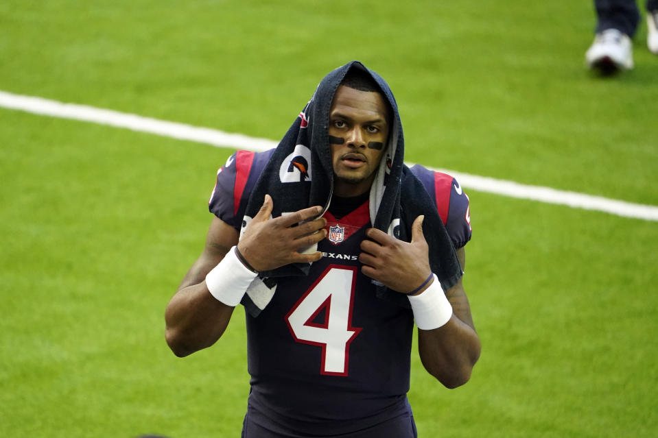 Houston Texans quarterback Deshaun Watson walks off the field before an NFL football game against the Tennessee Titans Sunday, Jan. 3, 2021, in Houston. Star quarterback Deshaun Watson has requested a trade from the Houston Texans, a person familiar with the move told The Associated Press. The person spoke to the AP on the condition of anonymity Thursday, Jan. 28, 2021, because they werent authorized to discuss the request publicly. (AP Photo/Eric Christian Smith)