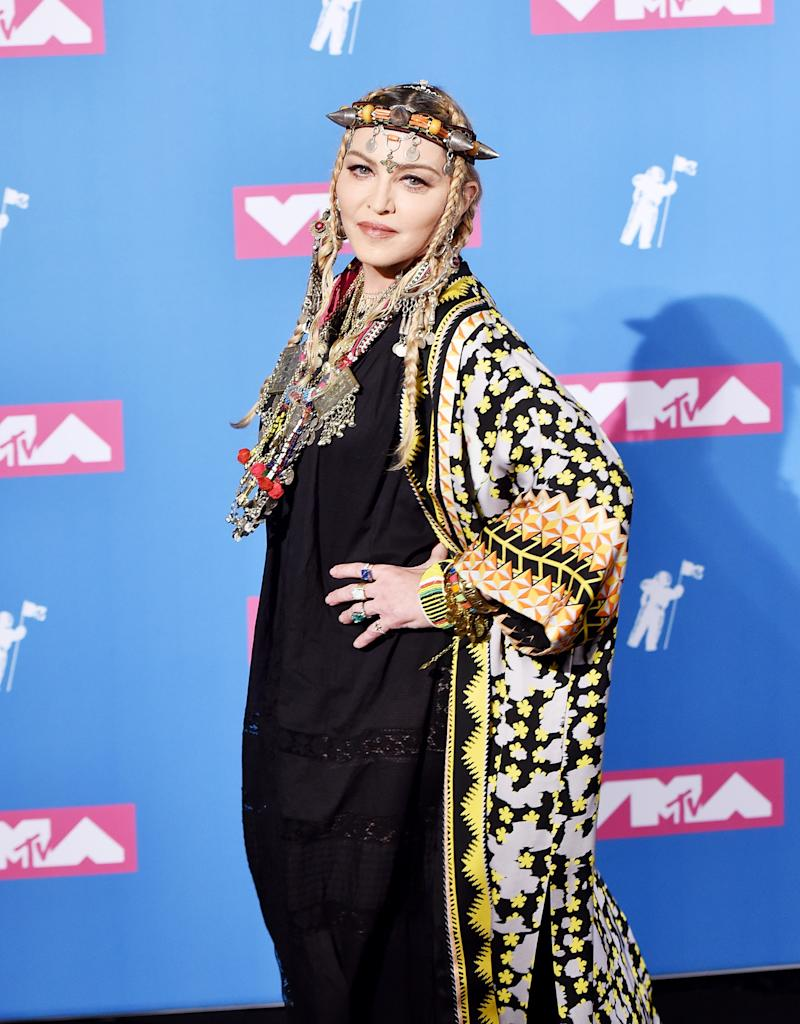NEW YORK, NY - AUGUST 20: Madonna poses in the press room at the 2018 MTV Video Music Awards Press Room at Radio City Music Hall on August 20, 2018 in New York City. (Photo by ISO/SIPA USA)