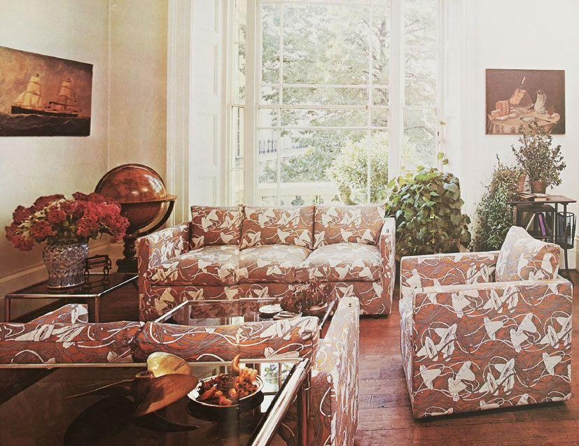 <p>The 1970s saw households tap into bold hues, prints, patterns and exciting new shapes. Like the sofas in the image, Brits weren't afraid of floral motifs and vibrant colours. Who remembers this style?   </p>