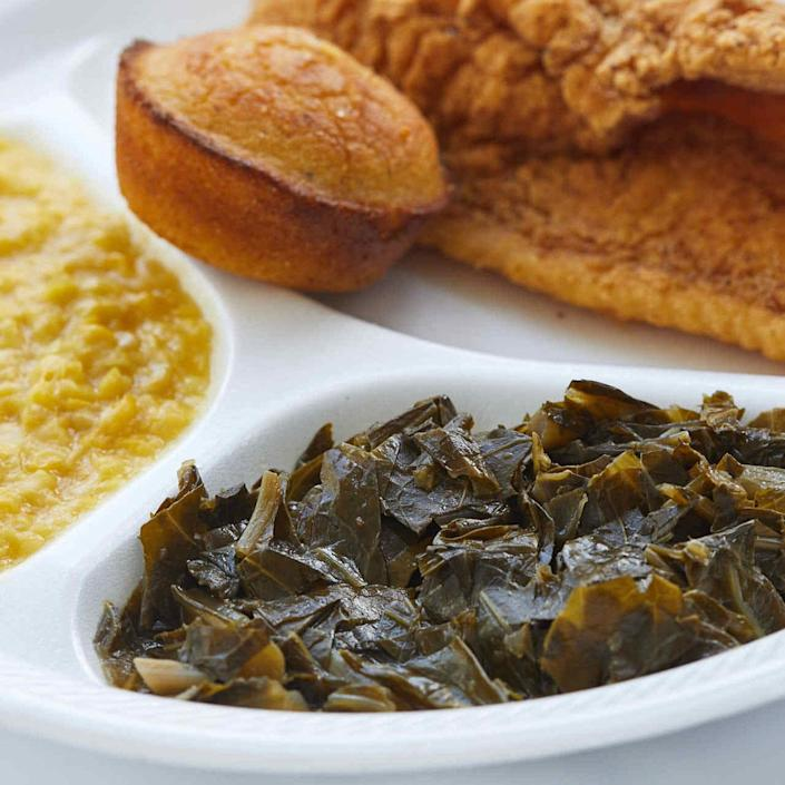 <p>Mable Clarke, a South Carolina cook and activist, serves this collard greens recipe at monthly fish fries to support the Soapstone Baptist Church in the community where she grew up. There, farmers' markets overflow with big, leafy collards that are typically simmered with ham stock to make up this traditional Southern side dish. Clarke uses premade ham stock but it can be hard to find. We adapted the recipe with chicken broth and a ham bone or hock. As the bone simmers it adds flavor to the broth and yields enough meat to serve with the collards.</p>