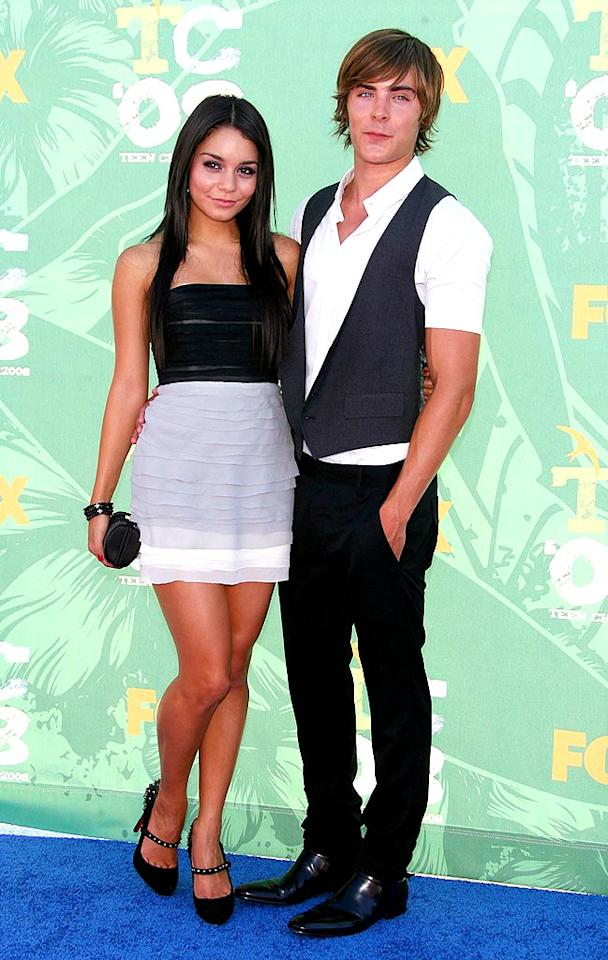 """Vanessa Hudgens wore a chic Catherine Malandrino cocktail dress and Christian Louboutin heels, while her main squeeze Zac Efron opted for a simple white shirt and cute black vest. Frazer Harrison/<a href=""""http://www.gettyimages.com/"""" target=""""new"""">GettyImages.com</a> - August 3, 2008"""