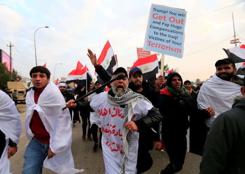 Supporters of Iraqi Shi'ite cleric Moqtada al-Sadr protest against what they say is U.S. presence and violations in Iraq, during a demonstration in Baghdad