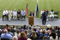Oregon Governor Kate Brown announces the end of the state's COVID-19 restrictions in Portland, Ore., Wednesday, June 30, 2021. (AP Photo/Craig Mitchelldyer)