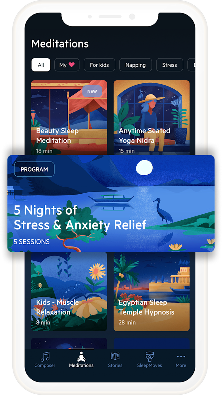 Relax Melodies loaded with guided exercises, soothing stories and lots of sounds to help lull you to sleep.