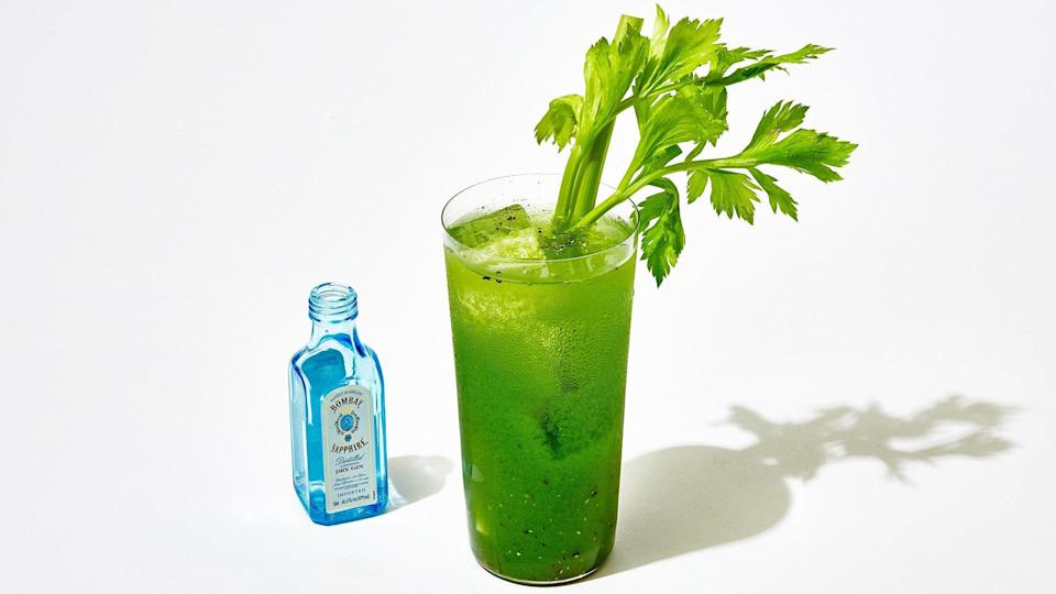 "Celery juice is pretty intense on its own, but it's lovely when combined with apple, parsley, apple cider vinegar, and a dusting of black pepper. <a href=""https://www.epicurious.com/recipes-menus/classic-modern-gin-recipes-gallery?mbid=synd_yahoo_rss"" rel=""nofollow noopener"" target=""_blank"" data-ylk=""slk:Gin"" class=""link rapid-noclick-resp"">Gin</a>? Go for it. <a href=""https://www.epicurious.com/recipes/food/views/celery-apple-juice-tonic?mbid=synd_yahoo_rss"" rel=""nofollow noopener"" target=""_blank"" data-ylk=""slk:See recipe."" class=""link rapid-noclick-resp"">See recipe.</a>"