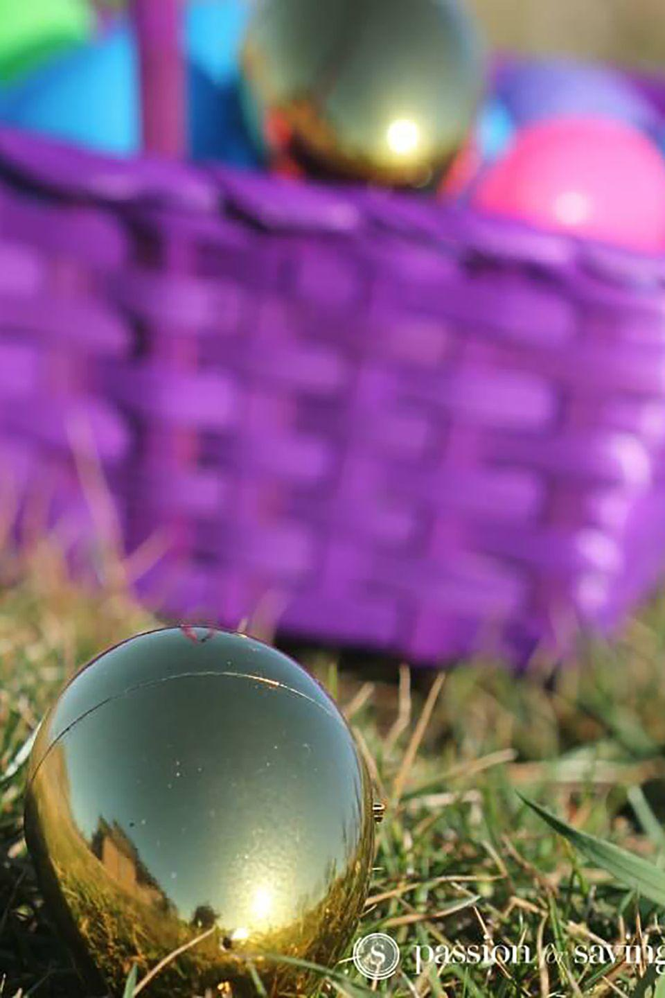 """<p>Hide one or two golden eggs, and make them extra difficult to find to challenge the most experienced hunters.</p><p><strong>Get the tutorial at <a href=""""http://www.passionforsavings.com/easter-egg-hunt-ideas-for-kids/"""" rel=""""nofollow noopener"""" target=""""_blank"""" data-ylk=""""slk:Passion For Savings"""" class=""""link rapid-noclick-resp"""">Passion For Savings</a>.</strong></p><p><strong><a class=""""link rapid-noclick-resp"""" href=""""https://www.amazon.com/Fun-Express-Golden-Metallic-Easter/dp/B004WOZ046/ref=sr_1_6?dchild=1&keywords=gold+eggs&qid=1614113555&sr=8-6&tag=syn-yahoo-20&ascsubtag=%5Bartid%7C10050.g.4083%5Bsrc%7Cyahoo-us"""" rel=""""nofollow noopener"""" target=""""_blank"""" data-ylk=""""slk:SHOP GOLD EGGS"""">SHOP GOLD EGGS</a><br></strong></p>"""