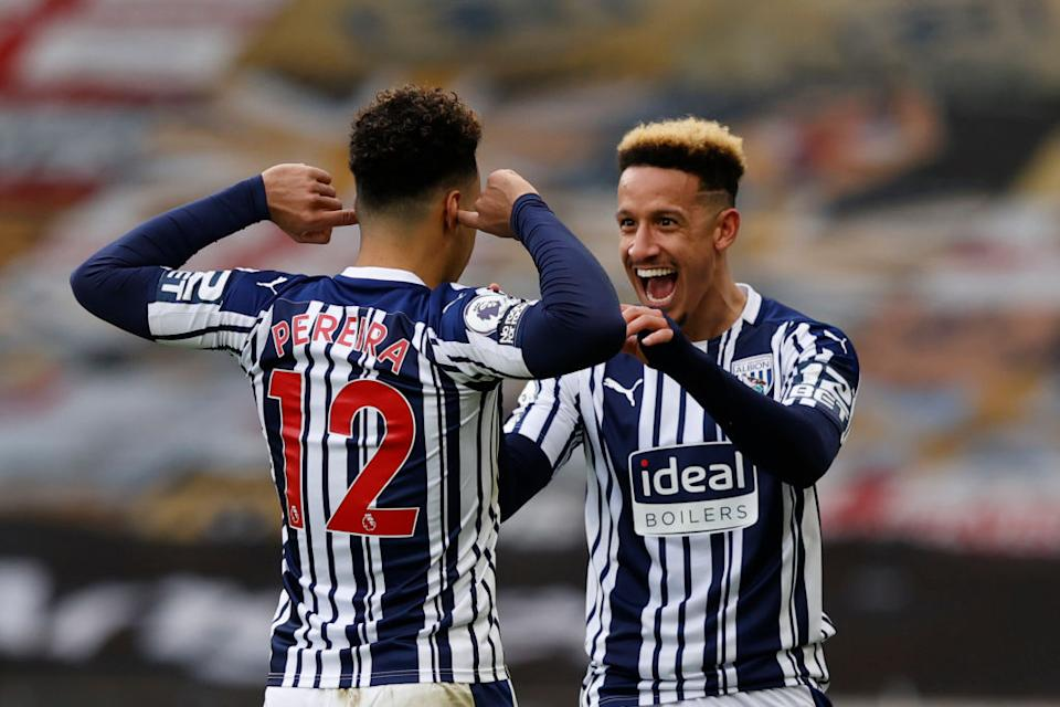 Matheus Pereira celebrates after scoring for West Brom (POOL/AFP via Getty Images)