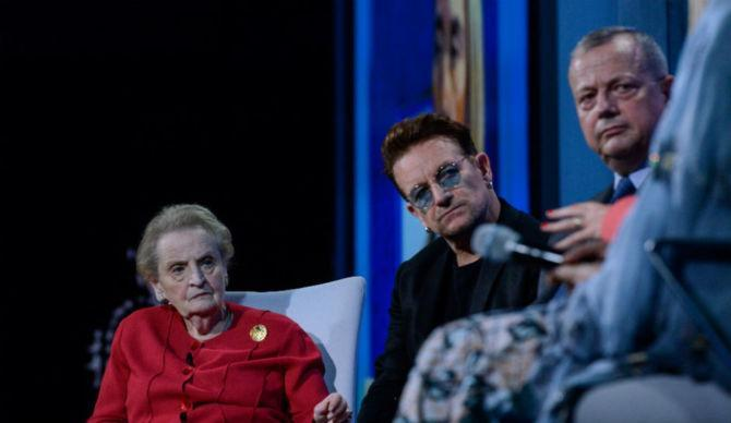 Madeleine Albright and Bono during the Clinton Global Initiative at the Sheraton New York Times Square Hotel on September 19, 2016. [Image by Stephanie Keith/Getty Image]