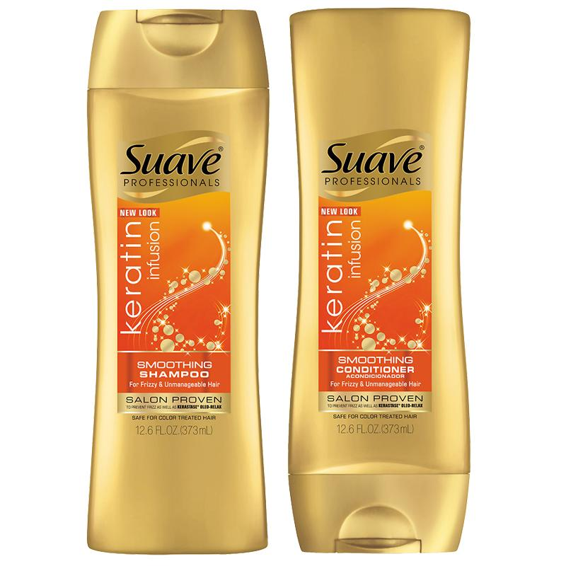 "<p>Fighting frizz starts in the shower. Opt for a shampoo and conditioner duo that's formulated to tame unruly hair like Suave's bottles, which are packed with keratin that seal strands' cuticles.</p> <p>$4 each  | <a rel=""nofollow"" href='http://www.anrdoezrs.net/links/7799179/type/dlg/sid/ISELfrizzproducts/https://www.walgreens.com/store/c/suave-professionals-keratin-infusion-smoothing-shampoo/ID=prod6098314-product'>SHOP IT</a></p>"