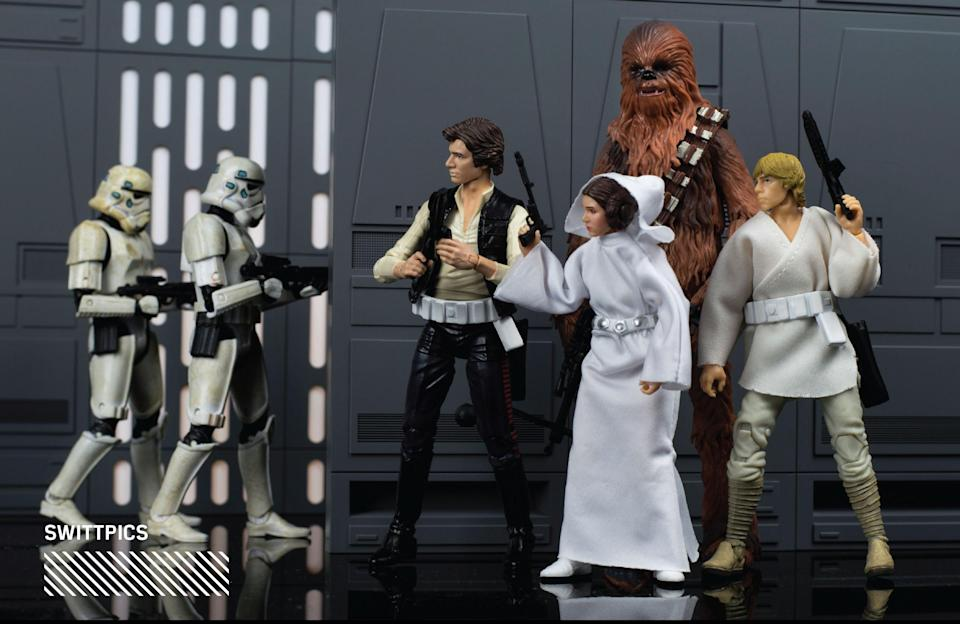 """<p>""""With this picture, I tried to depict Luke, Leia, Han, and Chewbacca's escape through the Death Star. I'm sure they snuck around corners and dodged stormtroopers patrolling the halls. I wanted all the characters to be in focus as well, and adjusted my camera settings accordingly."""" (Photo: <a href=""""https://www.instagram.com/swittpics/"""" rel=""""nofollow noopener"""" target=""""_blank"""" data-ylk=""""slk:@swittpics"""" class=""""link rapid-noclick-resp"""">@swittpics</a>/Hasbro) </p>"""