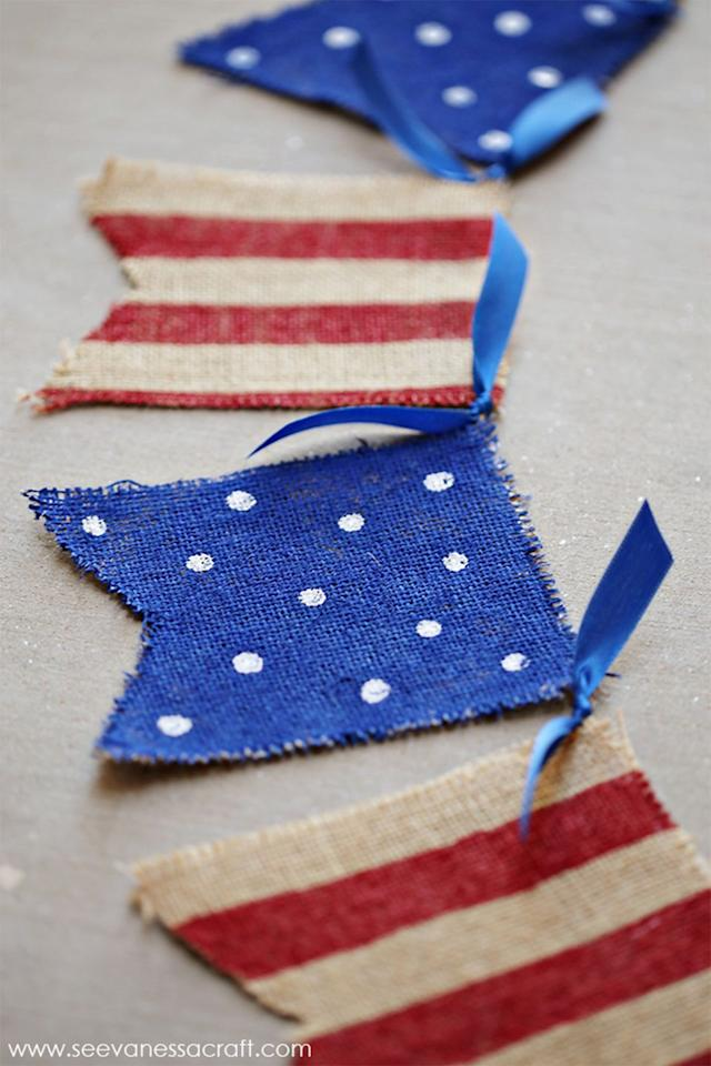 "<p>Get the kids to help you make something they can later proudly show off at your big party. <br></p><p><strong><a rel=""nofollow"" href=""http://seevanessacraft.com/2015/05/craft-4th-of-july-painted-burlap-banner/"">Get the tutorial at See Vanessa Craft.</a></strong></p><p><strong>What you'll need:</strong> burlap ($15 for 10 yards, <a rel=""nofollow"" href=""https://www.amazon.com/CleverDelights-Natural-Burlap-Roll-Eco-Friendly/dp/B00MXBEIJI/?tag=goodhousekeeping_auto-append-20&ascsubtag=[artid