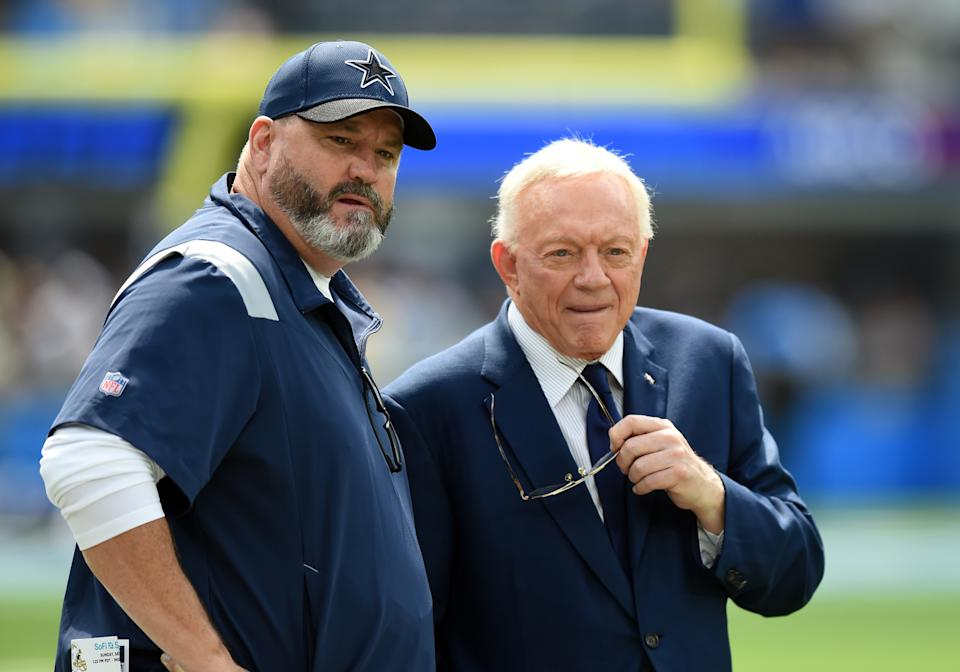 INGLEWOOD, CA - SEPTEMBER 19: Cowboys head coach Mike McCarthy and Cowboys owner Jerry Jones talk on the field during an NFL game between the Dallas Cowboys and the Los Angeles Chargers on September 19, 2021, at SoFi Stadium in Inglewood, CA. (Photo by Chris Williams/Icon Sportswire via Getty Images)