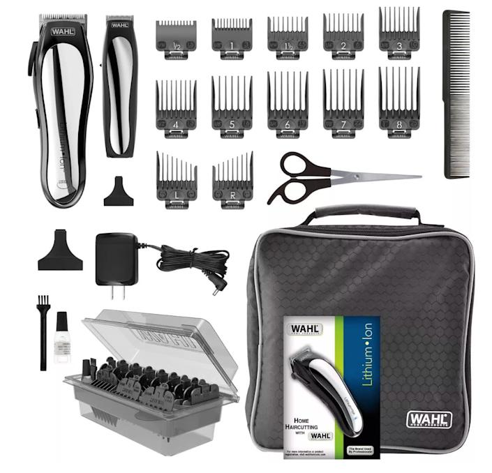"""This <a href=""""https://fave.co/2y6EyEl"""" rel=""""nofollow noopener"""" target=""""_blank"""" data-ylk=""""slk:Wahl Lithium Ion Pro Men's Cordless Haircut Kit"""" class=""""link rapid-noclick-resp"""">Wahl Lithium Ion Pro Men's Cordless Haircut Kit</a> has a cordless clipper that charges in 15 minutes and comes with 12 guide combs for a smooth and even haircut. The kit also includes a detail trimmer for necklines and sideburns. Find it for $59 at <a href=""""https://fave.co/2y6EyEl"""" rel=""""nofollow noopener"""" target=""""_blank"""" data-ylk=""""slk:Target"""" class=""""link rapid-noclick-resp"""">Target</a>."""