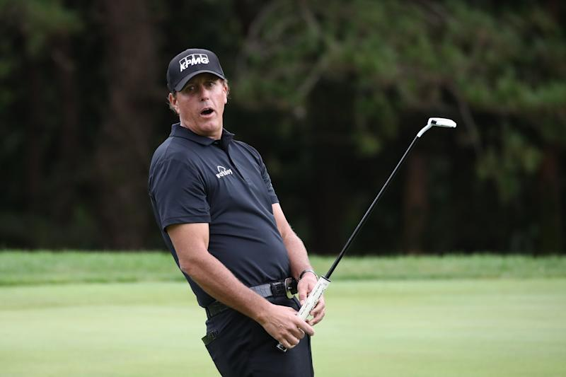 JEJU, SOUTH KOREA - OCTOBER 18: Phil Mickelson of the United States reacts after a putt on the 2nd hole during the second round of the CJ Cup @Nine Bridges at the Club a Nine Bridges on October 18, 2019 in Jeju, South Korea. (Photo by Chung Sung-Jun/Getty Images)