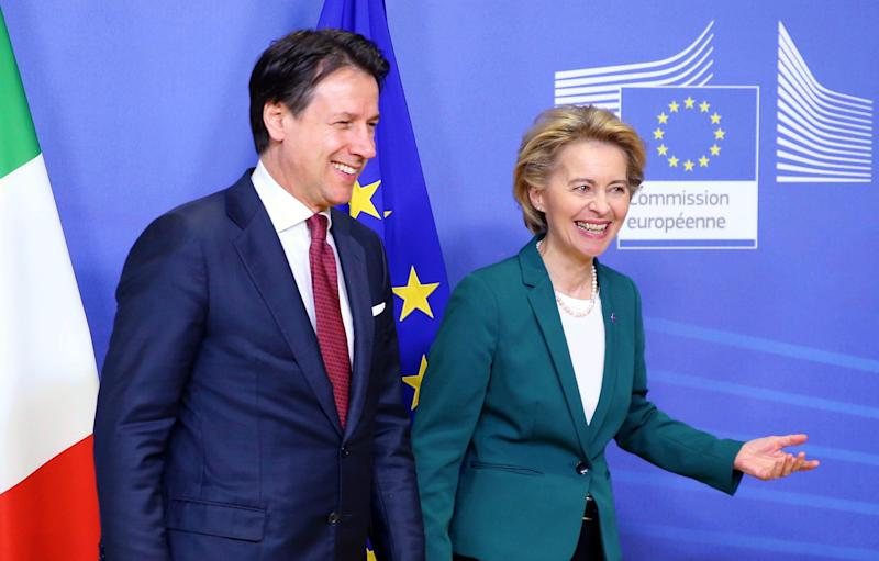 BRUSSELS, BELGIUM - FEBRUARY 4: Italian Prime Minister Giuseppe Conte (L) meets European Commission President Ursula Von der Leyen (R) in Brussels, Belgium on February 4, 2020. (Photo by Dursun Aydemir/Anadolu Agency via Getty Images) (Photo: Anadolu Agency via Getty Images)