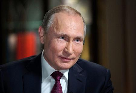 Russian President Putin attends an interview with NBC's journalist Kelly in Kaliningrad