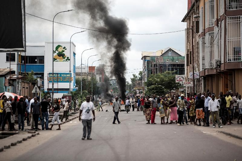 Protests in Kinshasa in January demanding that Democratic Republic of the Congo leader Joseph Kabila step down (AFP Photo/JOHN WESSELS)