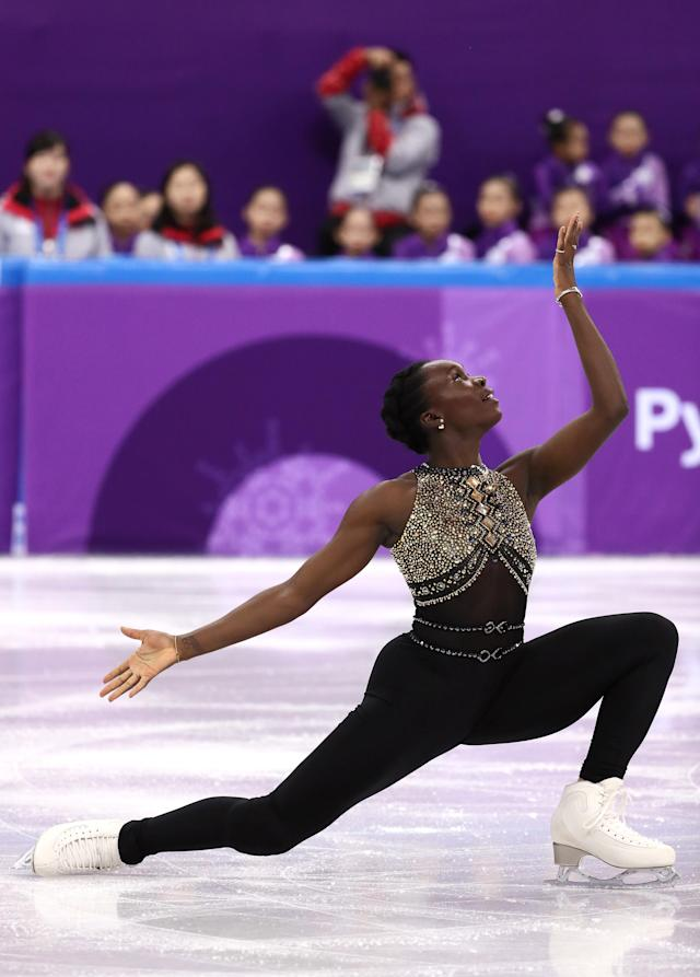 <p>Mae Berenice Meite of France competes in the Figure Skating Team Event – Ladies' Short Program on day two of the PyeongChang 2018 Winter Olympic Games at Gangneung Ice Arena on February 11, 2018 in Gangneung, South Korea. (Photo by Jamie Squire/Getty Images) </p>