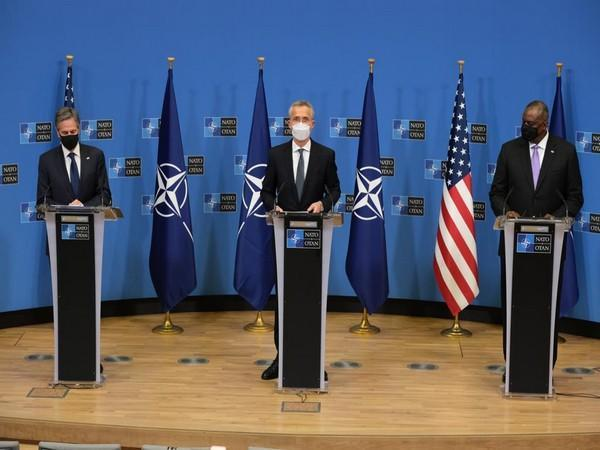 NATO chief Jens Stoltenberg, along with US State Secretary Antony Blinken and Pentagon chief Lloyd Austin, during a presser in Brussels. (Photo Credit: NATO Twitter)